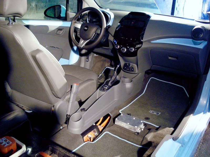 Battery pack under seat of Spark EV