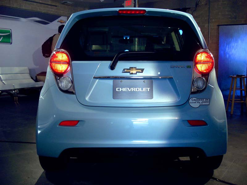 View of rear of Spark EV showing rear wiper, bumper and taillights